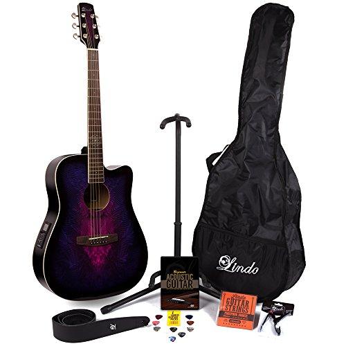 Lindo Guitars–Guitarra electroacústica (preamplificador en violeta W/& sintonizador digital y Full Pack de accesorios (Funda, soporte de guitarra, cuerdas, correa, 10púas, DVD, cejilla)
