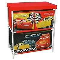Disney Pixar Cars 3 Canvas Storage Box 2 Tier 3 Drawers Childrens Kids Chest Toy