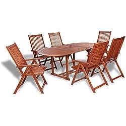vidaXL Conjunto de comedor exterior 7 piezas madera