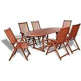 vidaXL Conjunto de Comedor de Exterior de 1 Mesa y 6 sillas de Madera de Acacia