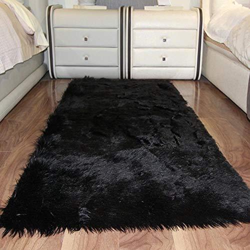 Keptfeet Kunstfell-Teppich, weich, flauschig, zottelig, 60 x 120 cm, schwarz