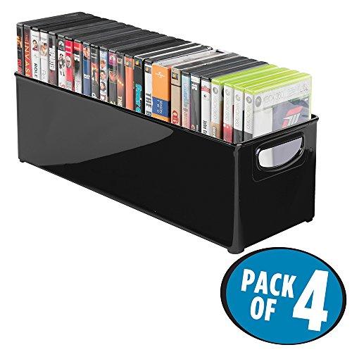 Preisvergleich Produktbild mDesign 4er-Set stapelbare DVD-Aufbewahrungsbox mit Griff – Aufbewahrungssystem mit Griff für DVDs,  CDs und Videospiele – Aufbewahrungsbox Kunststoff – schwarz