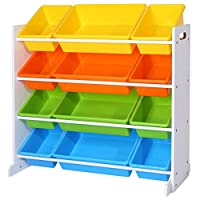 SONGMICS Children's Toy Storage Unit Playroom Display Stand Unit with 4 Colour Removable PP Container Box with Density Board Frame Stand White 86 x 26.5 x 78 cm (W x D x H) GKR04W
