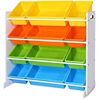 SONGMICS Estantería para Juguetes Libros Organizador para habitación Infantil 12 Cajas de Colores GKR04W
