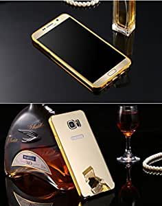 Sunny Fashion Luxury Mirror Effect Acrylic back + Metal Bumper Case Cover for Samsung Galaxy Note 5 - Gold