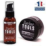 ✮ BARBER TOOLS ✮ Kit de barba cosmética - Oil de barba 50ml + Bálsamo para barba - 50ml | Para el mantenimiento y cuidado de la barba - MADE IN FRANCE