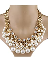 TBOP NECKLACE THE BEST OF PLANET Simple And Stylish Jewelry Pearl Multi-layered Sweater Chain Necklace In White...