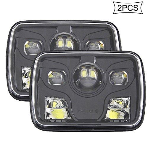 skuntuguang 5 x 7 Sealed Beam rechteckig LED Truck für Wrangler Square Licht Scheinwerfer, Schwarz ... -
