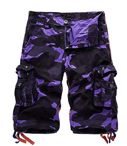 Yidarton Cargo Shorts Herren Kurze Hosen Outdoor Casual Cargo Bermudas Sommer Unifarben/Camouflage (ohne Gürtel) (Style2-Lila Camouflage, L) (Männer Hose Lila)