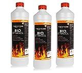 BIO ALKOHOL 96,6%, 3x 1L - ETHANOL BIOETHANOL für Alkohol-Kamine