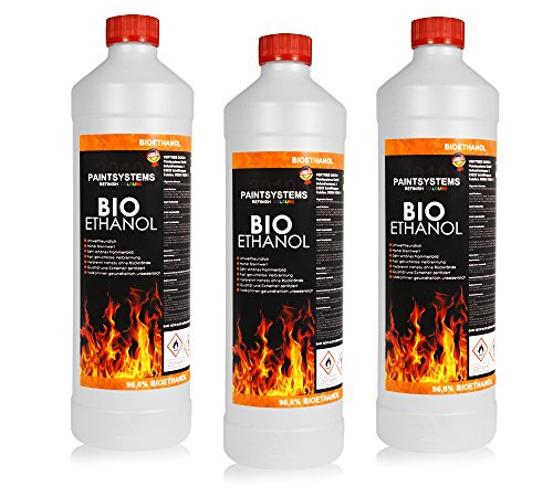 BIO ALKOHOL 96,6{431b8e2cb23a3c7e4643147342697cce1a52226166b2b068db0bd5afe3200cd5}, 3x 1L - ETHANOL BIOETHANOL für Alkohol-Kamine
