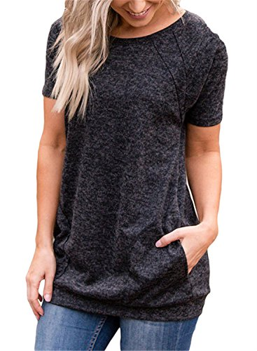 FIYOTE Womens Casual Short Sleeve Round Neck Tunic Tops Loose Long T Shirt Blouses with Pockets