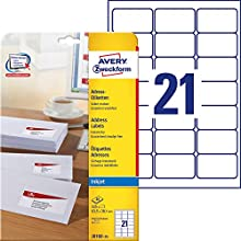 Avery Self Adhesive Address Mailing Labels, Inkjet Printers, 21 Labels per A4 Sheet, 525 labels, QuickDRY, White