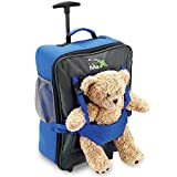 Cabin Max Bear Childrens Luggage Carry On Trolley Suitcase – Blue – Take Your Favourite Bear/Doll/Action Figure On Holiday