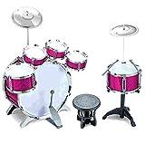 Eurotrade W Ltd Drum Kit 27 stück Rosa Rock Trommel-Set Kinder Mädchen Becken Musik Schlagzeug Spielset Hocker Spielzeug-Set