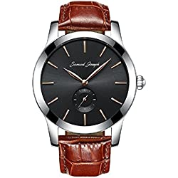 Samuel Joseph Bespoke Men's 43mm Wrist Watch - Master Crafted with Galaxy Black Dial, Steel Case, and Brown Leather Band