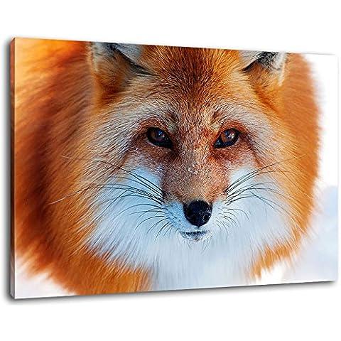 Fox nella neve Formato: 100x70 cm pittura su tela-coperte, enormi Foto XXL completamente finito e incorniciate con barella, incorniciatura sulla foto parete con cornice, più conveniente che la pittura o l'immagine, senza manifesti o