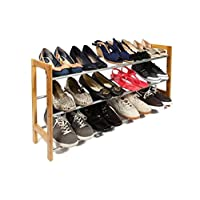 woodluv 3 Tier Storage Rack, Fully Hallway, Entrance Shoe Organiser (Extends from 61cm-117cm), Steel, 61 x 21.3 x 45 centimeters
