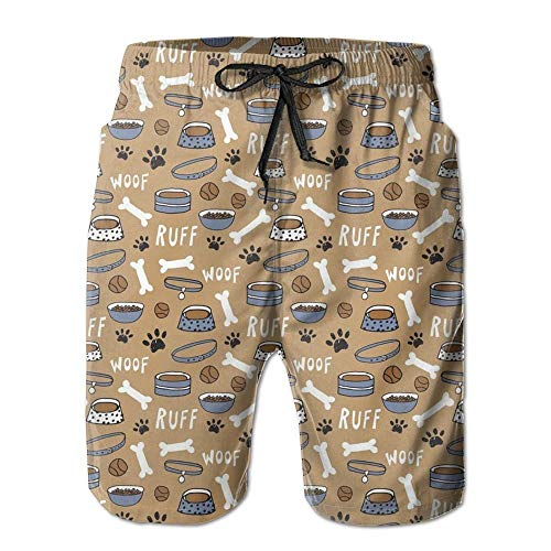 vbndgfhjd Cute Dog Bone Bowl Woof Paw Print Men's Printing Quick Dry Beach Board Shorts Swim Trunks XXL -
