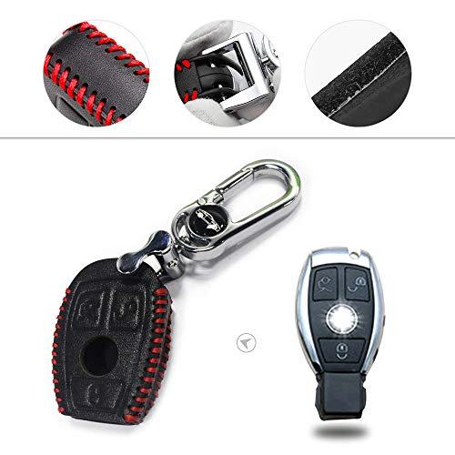 Muchkey Kfz-Schlüsseletui Schlüssel Hülle Leder Auto Schlüsseltasche mit schlüsselanhänger für C E M S CLS CLK GLK GLC G Klasse Smart 3-Tasten-Taste Rot Nähen 1 Stück