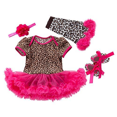 y Mädchen Strampler Kleider für Weihnachten Halloween Strampler Körper Anzug Outfit Set New Born Mädchen Rock 0-24 Monate (Leopard Print, 0-3 Monate) ()