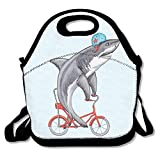 ziHeadwear JH Speed Lunch Tote Bag Funny Shark On Bike Picnic Lunchbox Lunch Tote Insulated Reusable Container Organizer for, Adults, Kids