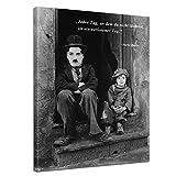 Leinwandbild mit Zitat - Jeder Tag, an dem du Nicht lächelst, ist EIN verlorener Tag. - II - (Charlie Chaplin) 50x70 cm - Sprüche und Zitate - Kunstdruck mit Sprichwörtern - Vers - Bild auf Leinwand