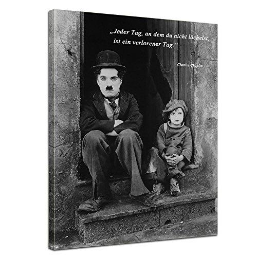 Bilderdepot24 Leinwandbild mit Zitat – Jeder Tag, an dem du Nicht lächelst, ist EIN verlorener Tag. – II – (Charlie Chaplin)