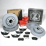 Zimmermann Bremsscheiben 1ZF 1KD Coat Z/Bremsen + Bremsbeläge für vorne + hinten