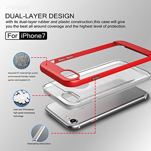 Coque iPhone 7, Forhouse[Ultra-Fit]Mince Double Couche Case Doux Léger Svelte Cristal Placage Texture Brossé TPU[Heavy Duty]Dur PC 2 in 1 Hybride Etui Durable Antidérapant Antichoc Haute Protection D' D'or