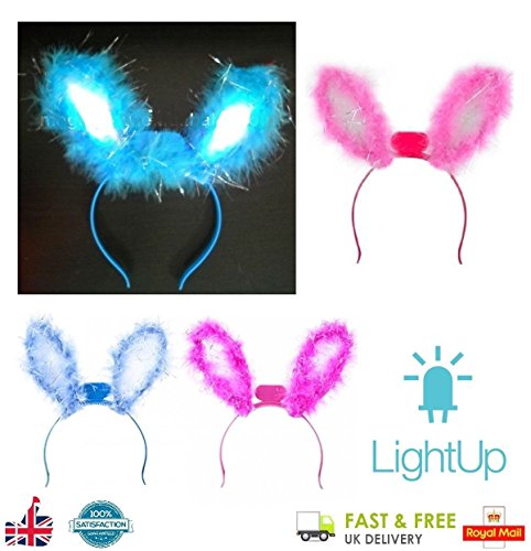 Deluxe Tricks Bunny Ohren Stirnband blinkende LED-Fell Ostern Hen Party Fancy Kleid von ()