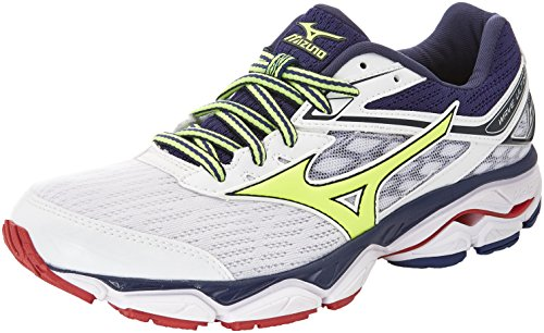 Mizuno Herren Wave Ultima 9 Gymnastikschuhe, Bianco (White/Safety Yellow/Blueprint), 44.5 EU