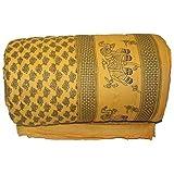 Hindustan Trading World Famous Light Weight Pure Cotton Jaipuri/Rajasthani Print Light Yellow Colour Reversible Single Bed Quilt/Razai / Rajai/dohar/ac Blanket/falalen/Yellow Rajai