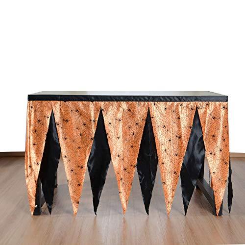 Spinnennetz Dreieck Tisch Rock Halloween Ghost Festival Thema Party Zweifarbige Tabelle, 183x75cm, orange schwarz