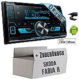 Skoda Fabia 2 - Kenwood DPX-X5000BT - 2DIN Bluetooth USB Autoradio - Einbauset
