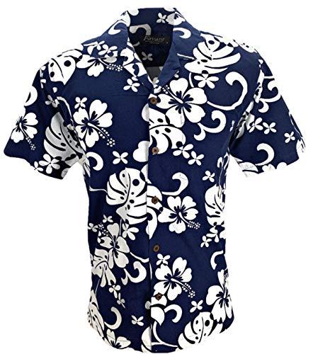 Hibiscus-aloha-shirt Herren (Favant Tropical Luau Beach Hibiscus All Over Floral Print Herren Hawaii Aloha Hemd - Blau - X-Groß)