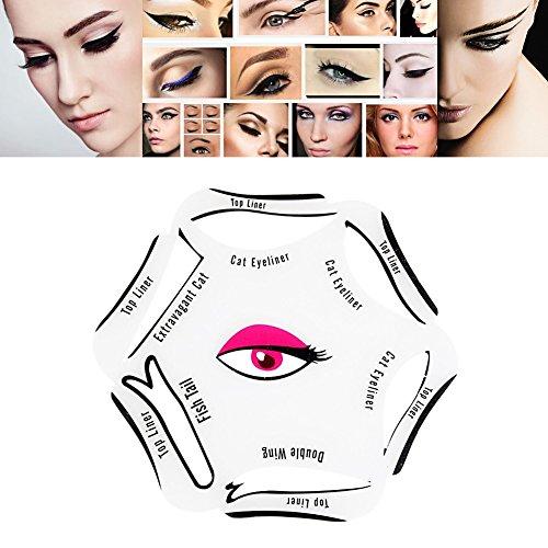 Eyeliner Schablone – 6 in 1 Schablonen für perfekte Katze Eyeliner und Smokey Augen Make-up Werkzeug Schablone für die perfekte Lidstrich und ein makelloses Augen-Make-up - weich