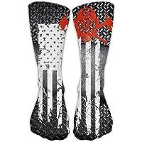 Firefighter Red Line Flag Unisex Novelty Crew Socks Ankle Dress Socks Fits Shoe Size 6-10