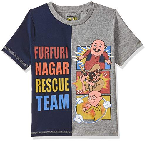 Motu Patlu Boys' Plain Regular Fit T-Shirt (MPPBSL1301_Grey Melange_5-6 Years)