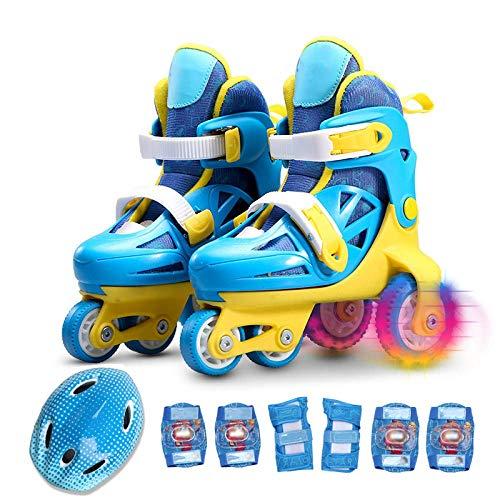LWPCP Inline-Skate-Kinder-Rollschuhe Anfänger einstellbar zweireihig 4-Rad Rollerblades kompletter Satz für Baby 2-10 Jahre alte Geburtstagsgeschenke, hellblau-S (29-33),Blue,S
