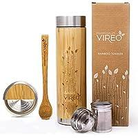 Teeflasche aus Rostfreiem Edelstahl Teebereiter Tee-Ei: 480ml Bambus Thermobecher | Tee & Kaffee Reisbecher | Thermoflasche | Obst-Infuser Trinkflasche Umweltfreundlicher von VIREO (480ml, Bambus)