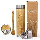Teeflasche aus Rostfreiem Edelstahl Teebereiter Tee-Ei: 480ml Bambus Thermobecher   Tee & Kaffee Reisbecher   Thermoflasche   Obst-Infuser Trinkflasche Umweltfreundlicher von VIREO (480ml, Bambus)