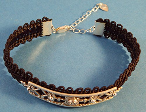 Besteckschmuck Armband 835er Silber inkl. 925er Endstücke, schwarzer Stoff