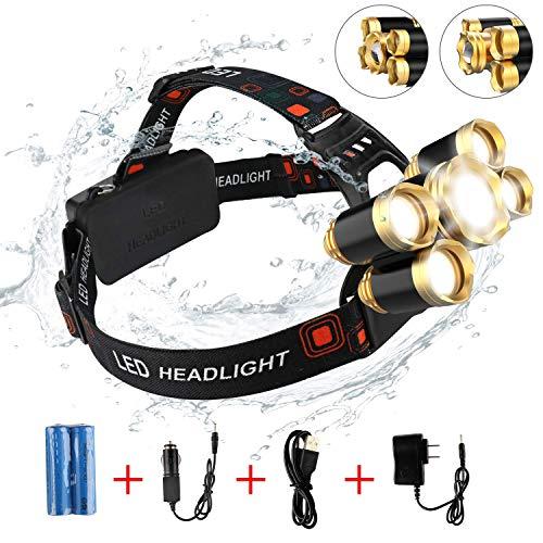 ACR-22 Brightest-USB 20000 lumen impermeabile ricaricabile 5 LED T6 + Q5 torcia frontale zoomabile XML T6 lampada da testa per campeggio, pesca, caccia, corsa