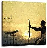 alter Samurai-Meister vor Horizont Kunst Pinsel Effekt, Format: 60x60 auf Leinwand, XXL riesige Bilder fertig gerahmt mit Keilrahmen, Kunstdruck auf Wandbild mit Rahmen, günstiger als Gemälde oder Ölbild, kein Poster oder Plakat
