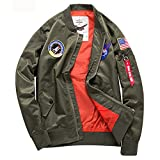 Gitvienar, giacca da aviatore, per le mezze stagion, sportiva in pile, in stile bomber, in poliestere, con cerniera, da uomo, Uomo, MYD212-880522, verde militare, EU XXL (Brustumfang:130 cm) dünn