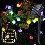 Cadena Solar de Luces, Guirnalda de Luces, SYOSIN Luces Decorativas, IP65 Impermeable Con 8 modos, 50-200 LED, para Fiestas, Jardines(7~22 metros)