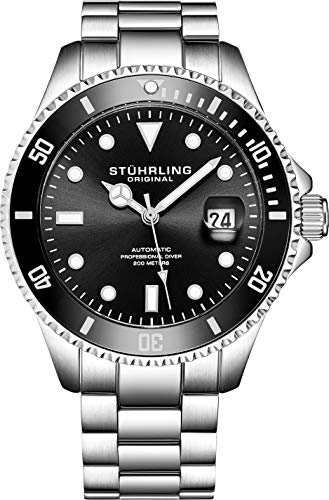 Stuhrling Original Edizione Faccia nera Orologio Automatico da Uomo 200m Orologio sportivo...
