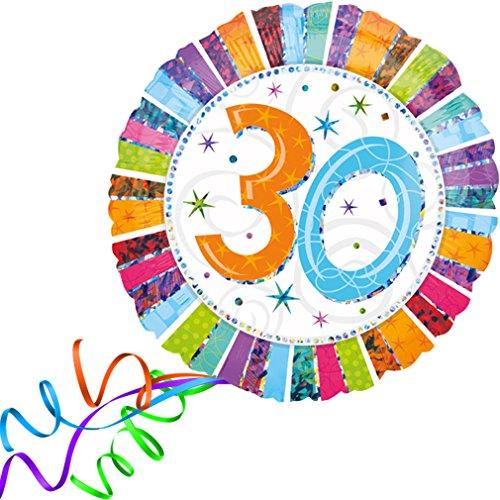 > > > Fertig Heliumbefüllt < < < Großer Folienballon rund 30 - 30. Geburtstag Happy Birthday Ballon mit Helium/Ballongas gefüllt von Haus der Herzen®