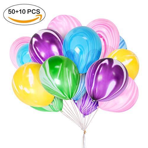 METALBAY Globos de Ágata de Colores 60 Piezas, Globos de Fiestas de Látex para Cumpleaños, Boda y Aniversarios 30cm / 12 Pulgadas